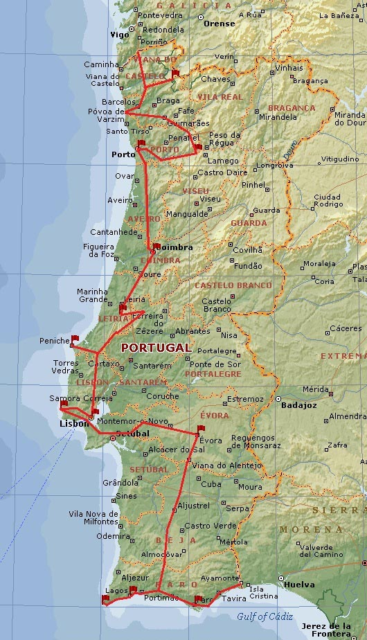 Map Of Northern Spain And Portugal.Spain Portugal